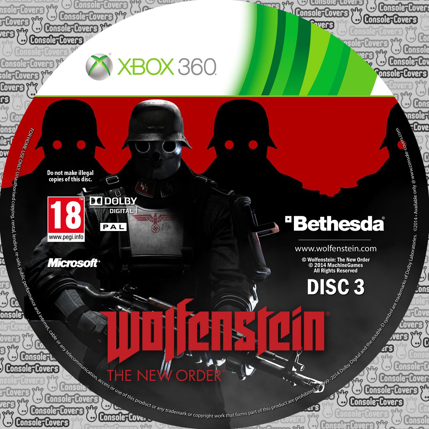 Label Wolfenstein The New Order Disc 3 Xbox 360