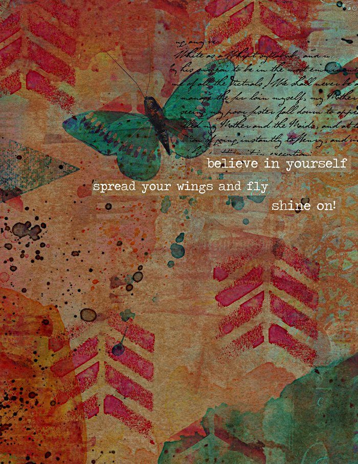 digital art journaling page by Heather Greenwood Designs