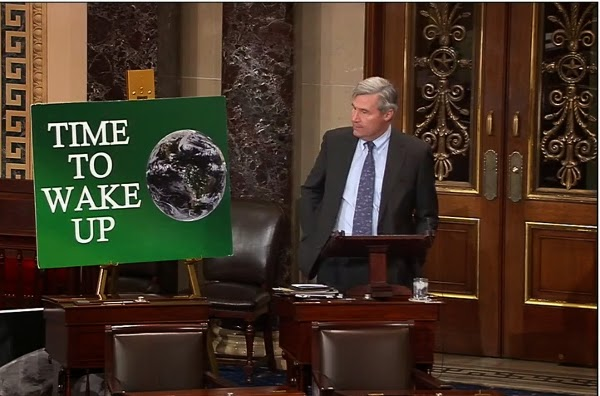 "Senator Sheldon Whitehouse delivers a weekly speech on climate change on the Senate floor, a series he's dubbed ""Time to Wake Up."" (Credit: Office of Sheldon Whitehouse) Click to Enlarge."