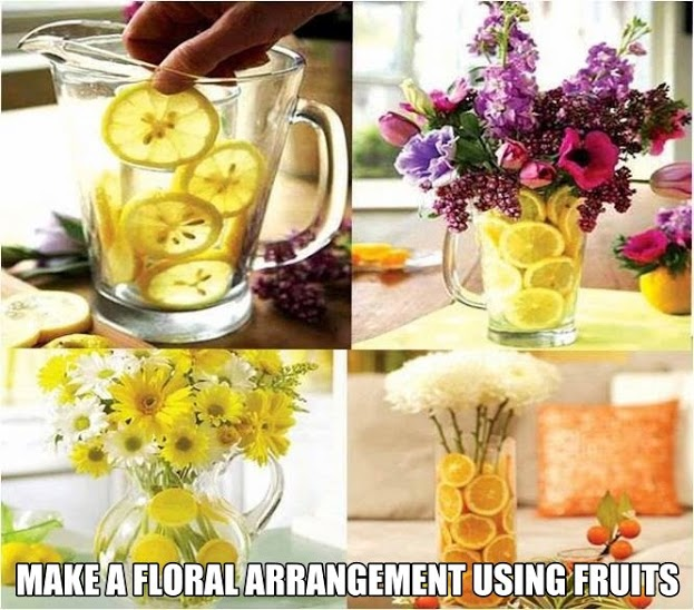 Make a floral arrangement using fruits