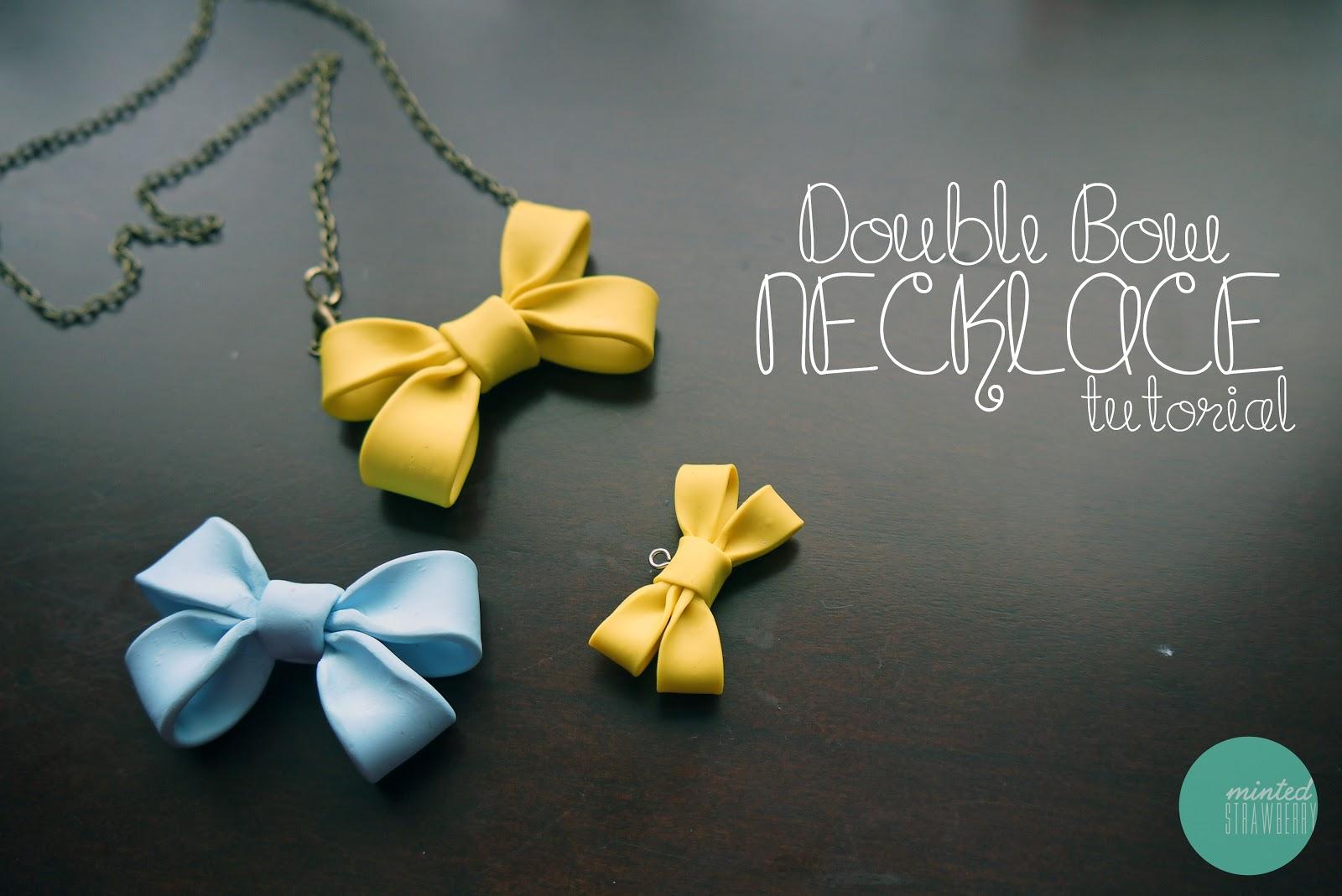 Diy double bow necklace diy do it yourself diy double bow necklace solutioingenieria Image collections