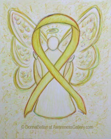 Yellow Awareness Ribbon Guardian Angel Art Original Painting