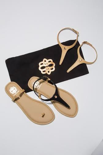 cambiami, change me sandals, change flats shoes, shoes that change straps, affordable sandals, tan and black flat sandals