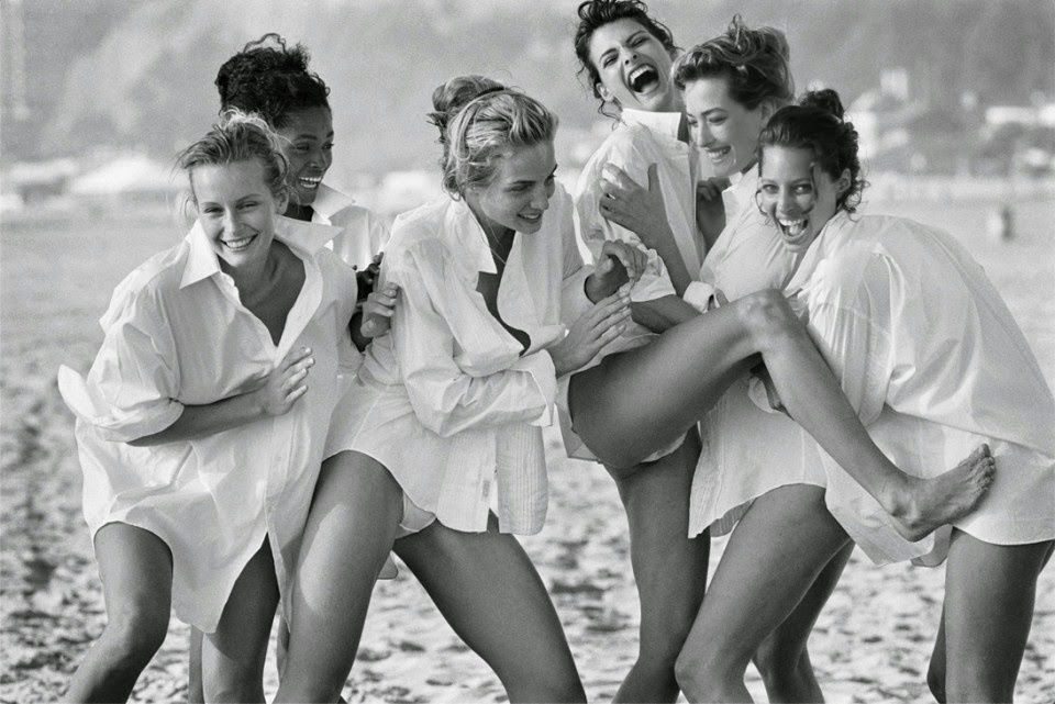 Estelle Lefébure, Karen Alexander, Rachel Williams, Linda Evangelista, Tatjana Patitz, and Christy Turlington by Peter Lindbergh for Vogue US (August 1988) | Ses Rêveries