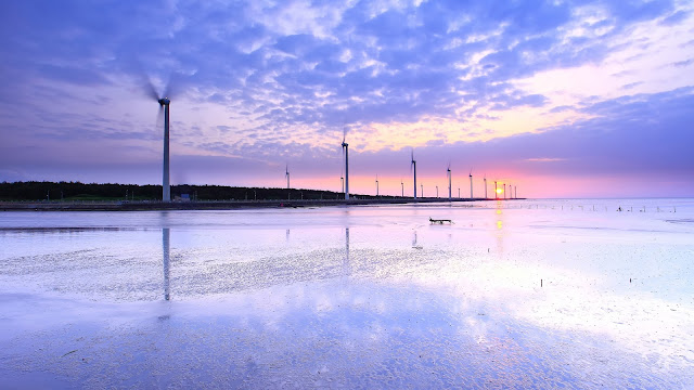 Taiwan Sea Shore Windmills Sunset Evening Water Reflection Sky Clouds HD Wallpaper
