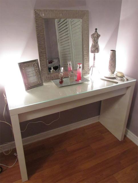 sunshine makeup vanity room update. Black Bedroom Furniture Sets. Home Design Ideas