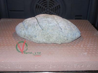 Horneando el pan de wakame sobre mi nueva piedra de horno.