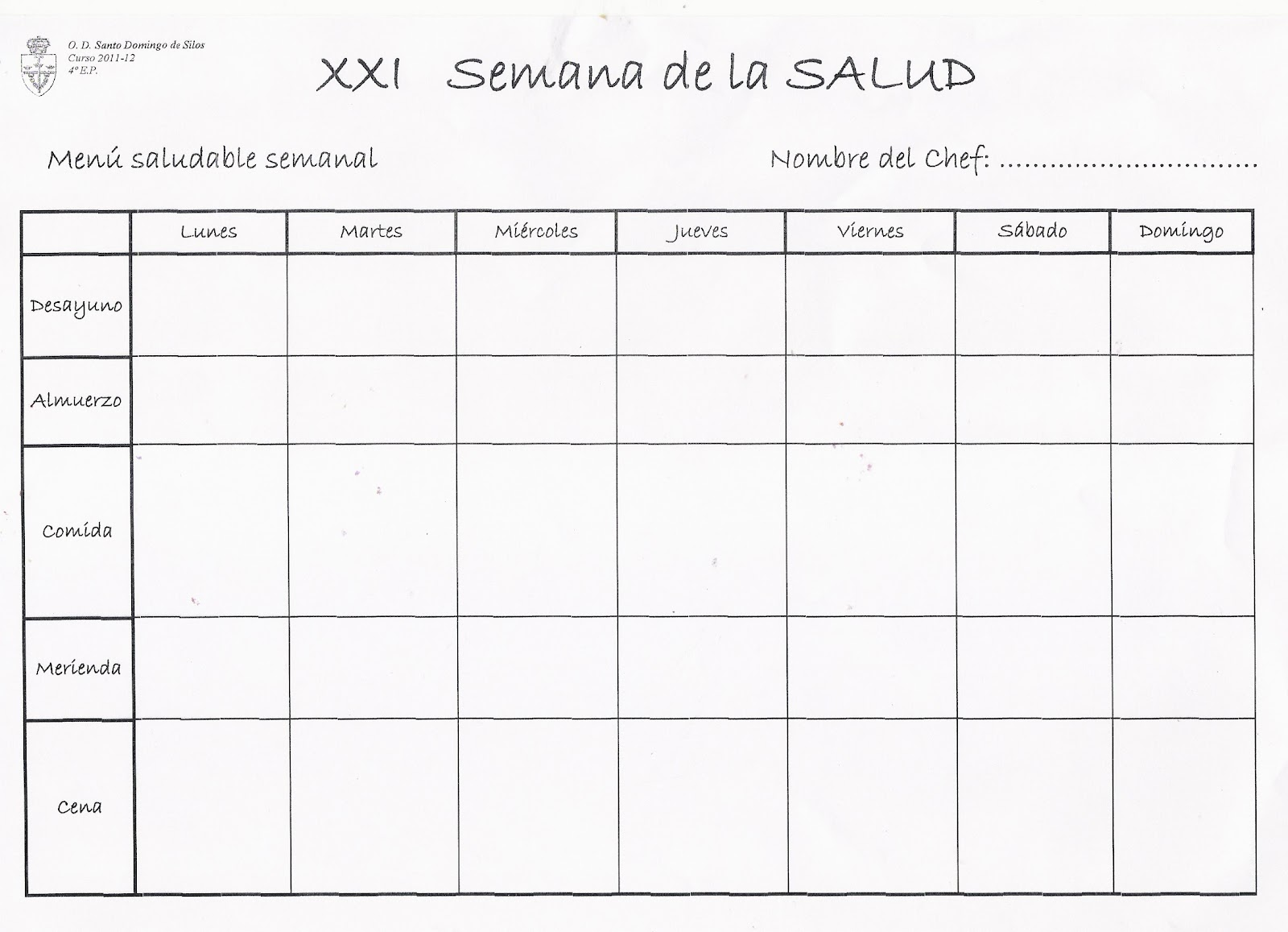 Nuestra nave tic men saludable semanal for Planning semanal comidas