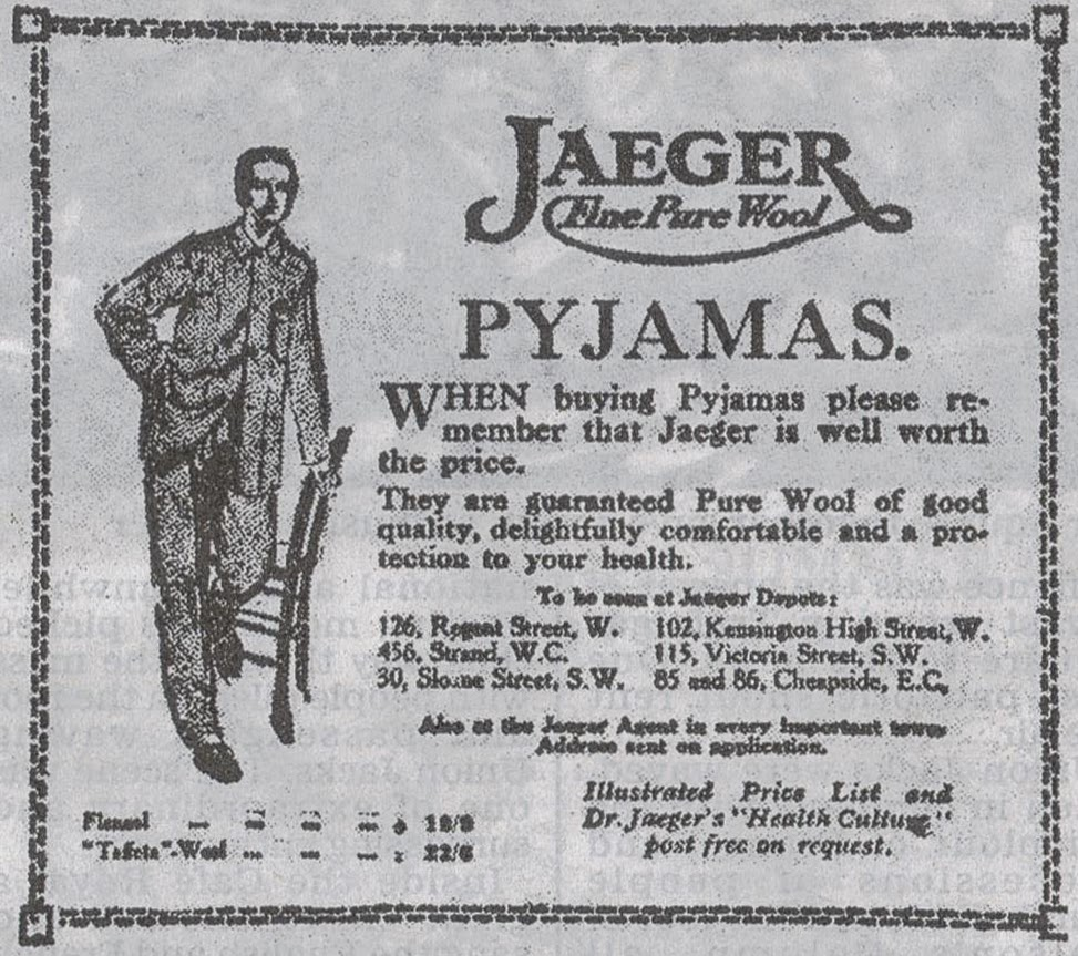 1914 advert for pyjamas
