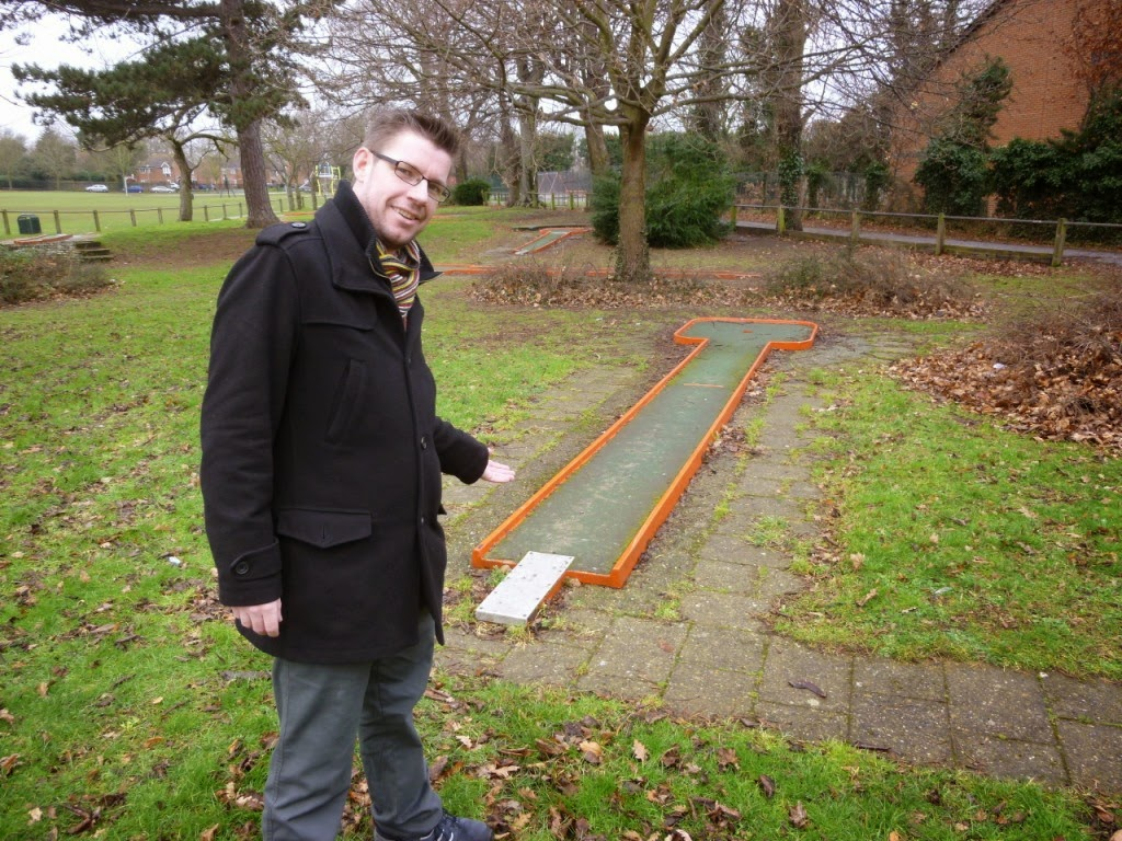 Richard Gottfried at the Crazy Golf course at Woodlands Park in Gravesend, Kent