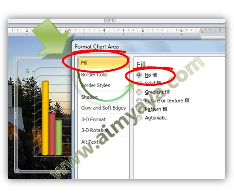 Gambar: Membuat latar chart/grafik menjadi transparan