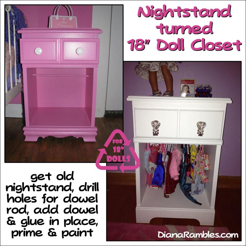 Nightstand Turned American 18 Doll Closet