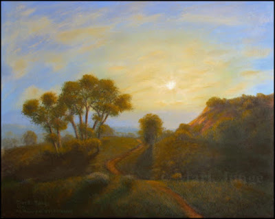 California State Polytechnic University,Cal Poly,Pomona,sunset,sundown,green trees,green grass,orange sky, coastal sage scrub,trail,path,small painting