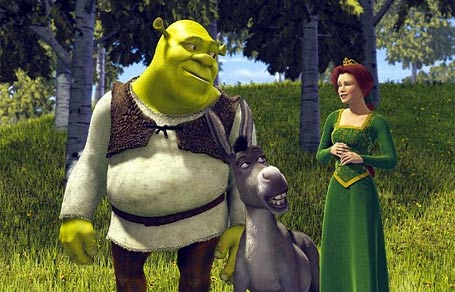Shrek, the donkey and Fiona