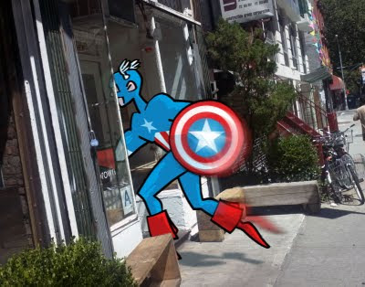 Captain America entering a hipster cafe