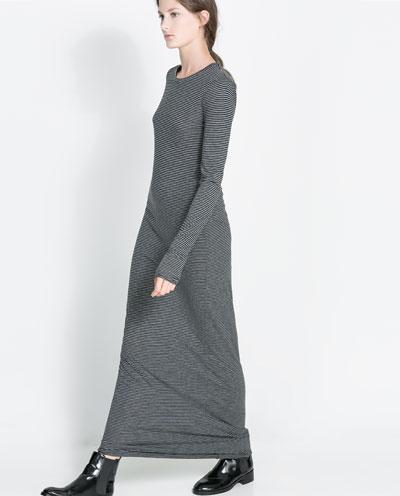 çizgili uzun kollu uzun elbise