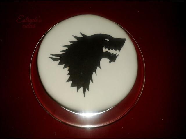 tarta de fondant de juego de tronos, casa Stark