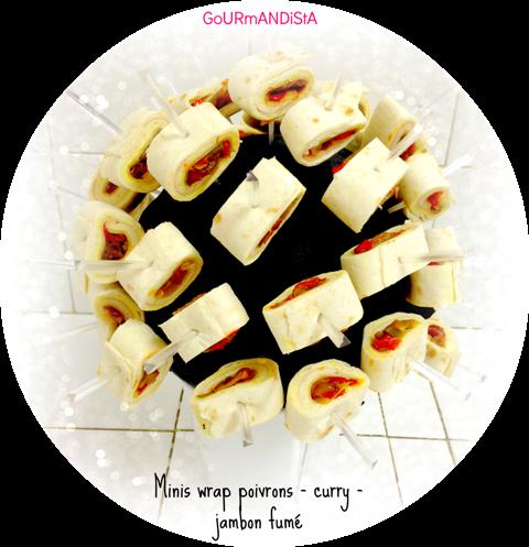 image Minis wraps aux poivrons, curry et jambon fumé