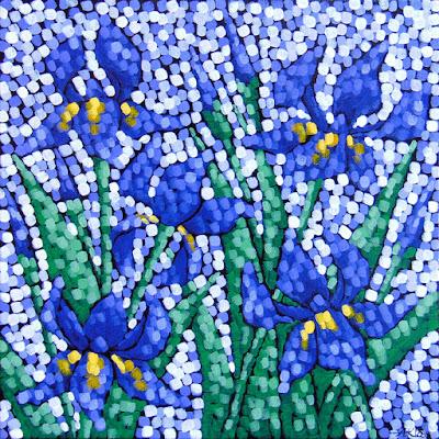 Lavender Sky Iris, Siiviis Gallery, Aaron Kloss Artwork Painting, Iris Flower Painting, Pointillism