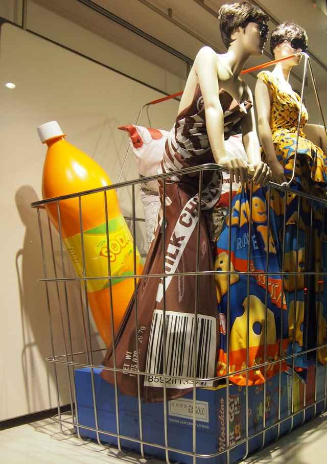 Moschino shopping basket in London window