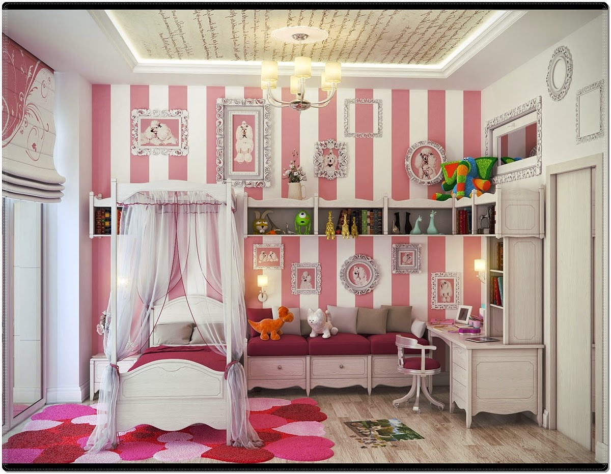 Kids Bedroom The Best Idea Of Little Girl Room With Princess Wallpaper Theme And Polka Dot Blanket - Interior Design and Decorating Articles & Kids Bedroom: The Best Idea Of Little Girl Room With Princess ...