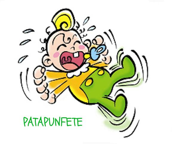 disegno Neonato che cade e Piange con scritta Patapunfete