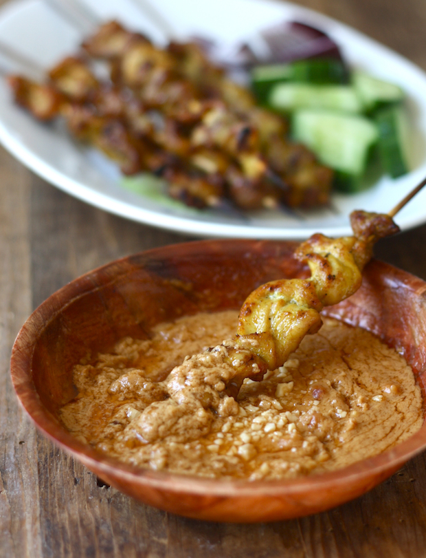 Grilled Chicken Satay Skewers With Sweet And Spicy Peanut Sauce ...