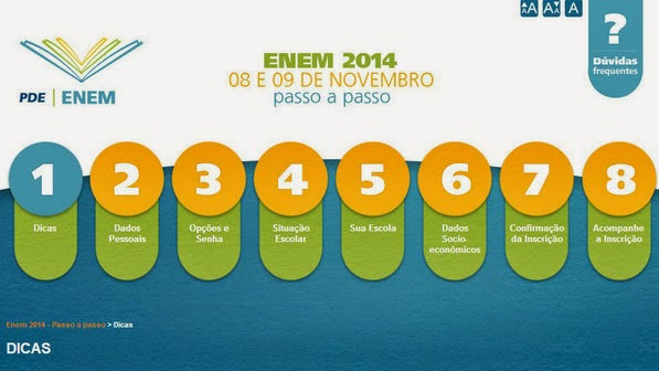 Página inicial do Enem 2014