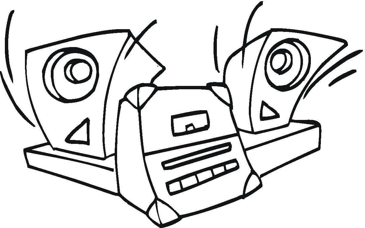 Desenho como desenhar som automotivo e aparelho som de casa    pintar e colorir
