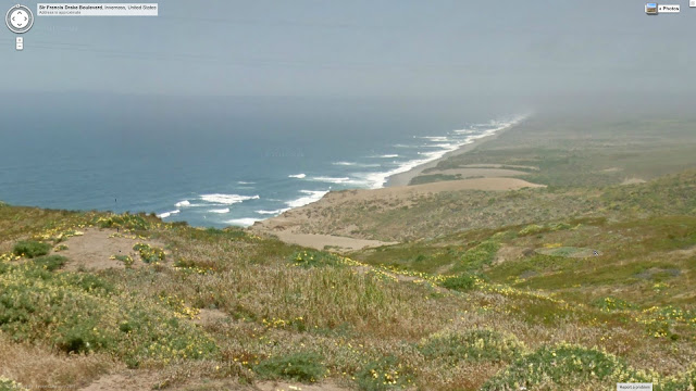 Google Street view capture of pt. reyes national seashore, from a hill looking down