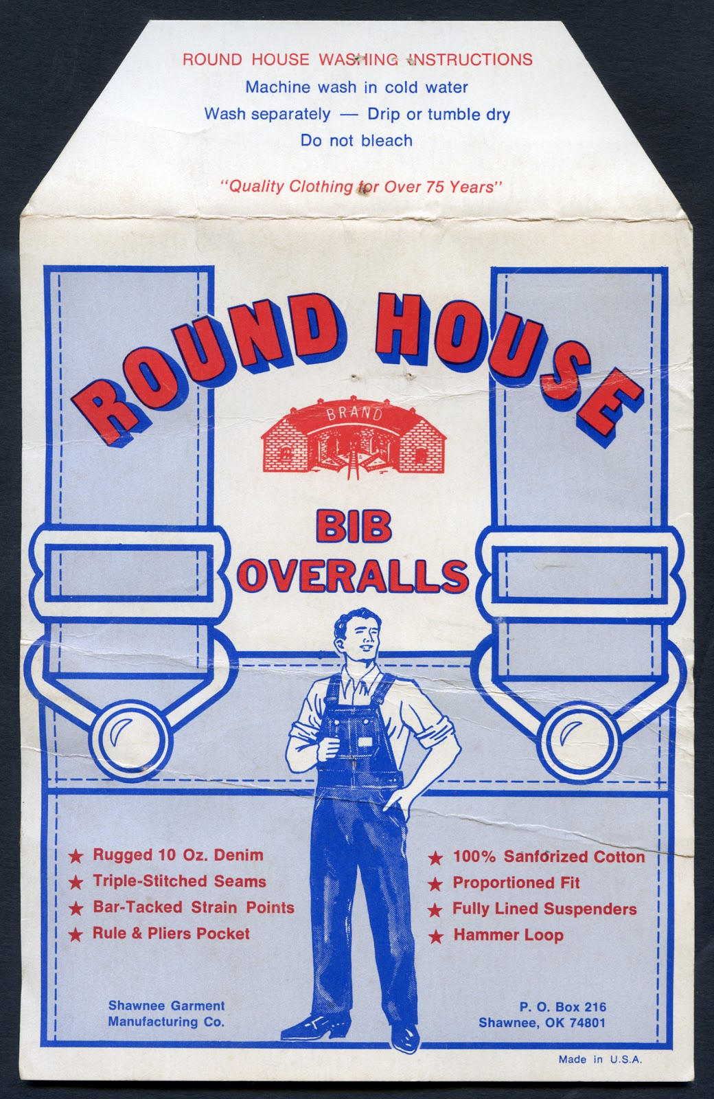 Union made round house overalls flasher - Roundhouse bib overalls ...
