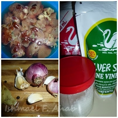 Ingredients for adobong atay ng manok