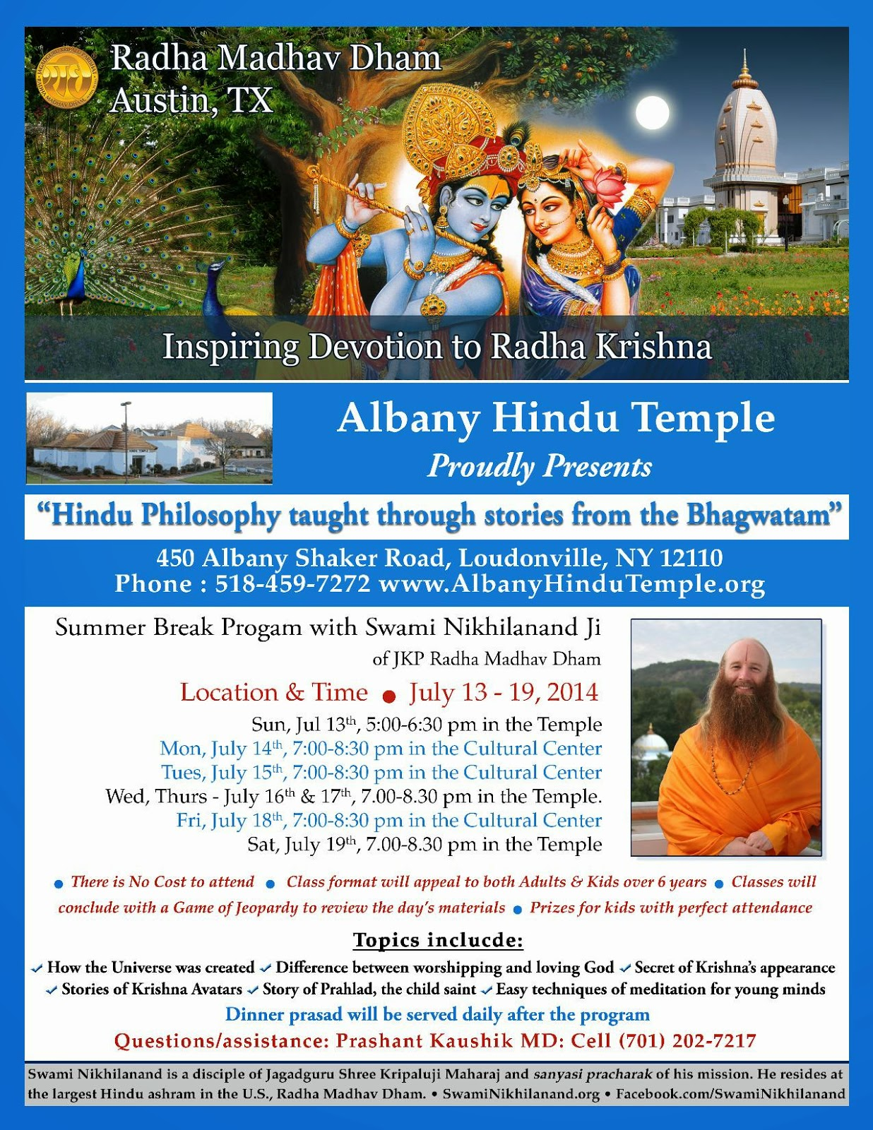 Bhagwatam Hindu Kids class with Swami Nikhilanand, pracharak of Jagadguru Kripaluji Maharaj