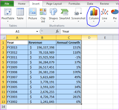 Making an Excel column chart