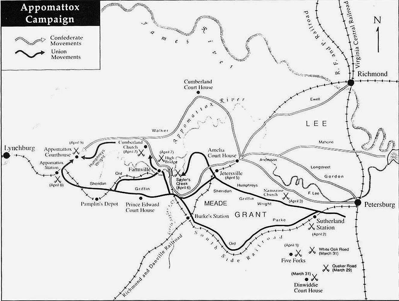 5 april 1865 a d gen lee confederates break out from amelia courthouse