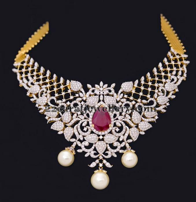 Latest Leafy Style Diamond Choker Jewellery Designs