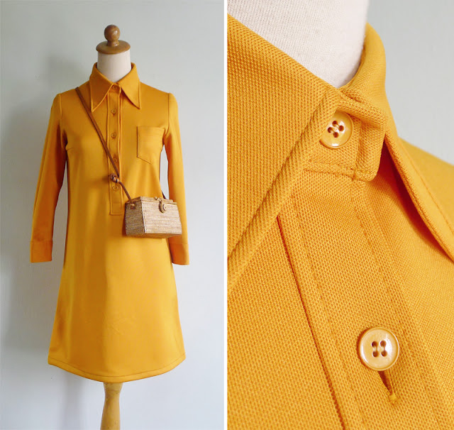 vintage marigold yellow collared shirt dress