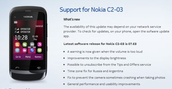 support for Nokia C2-03
