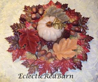 fall pumpkin arrangement, leaf candles