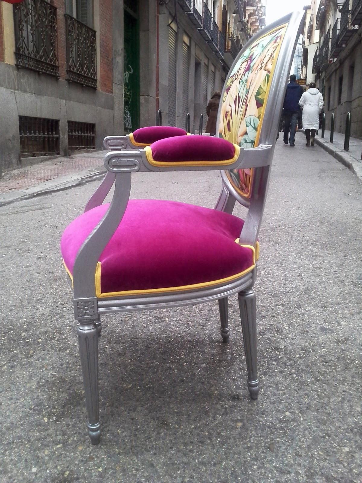 La tapicera silla luis xvi tapizada con tela de pin ups - Sillas luis xvi baratas ...