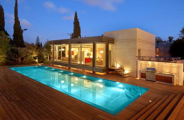 outdoor lights and the pool | Outdoor Wooden Furniture