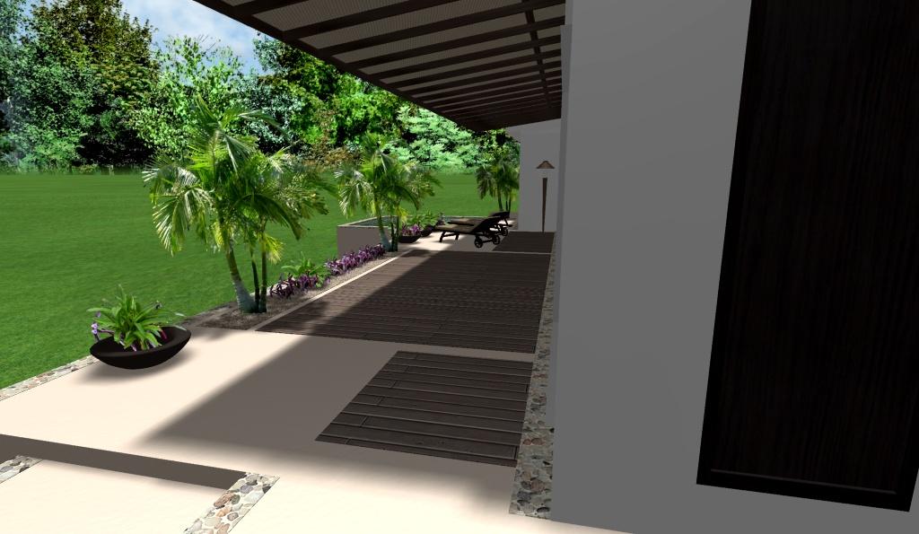 diseño de casa moderna, renders 3D, vista hacía la terraza