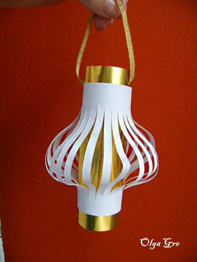 Бумажный фонарик на елку своими руками