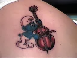 Cello Smurf Tattoo