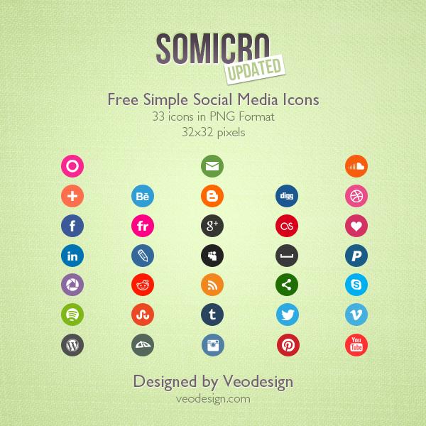Somicro: 33 Free Social Media Icons