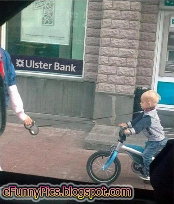 A Mother Walking Her Child on a Leash