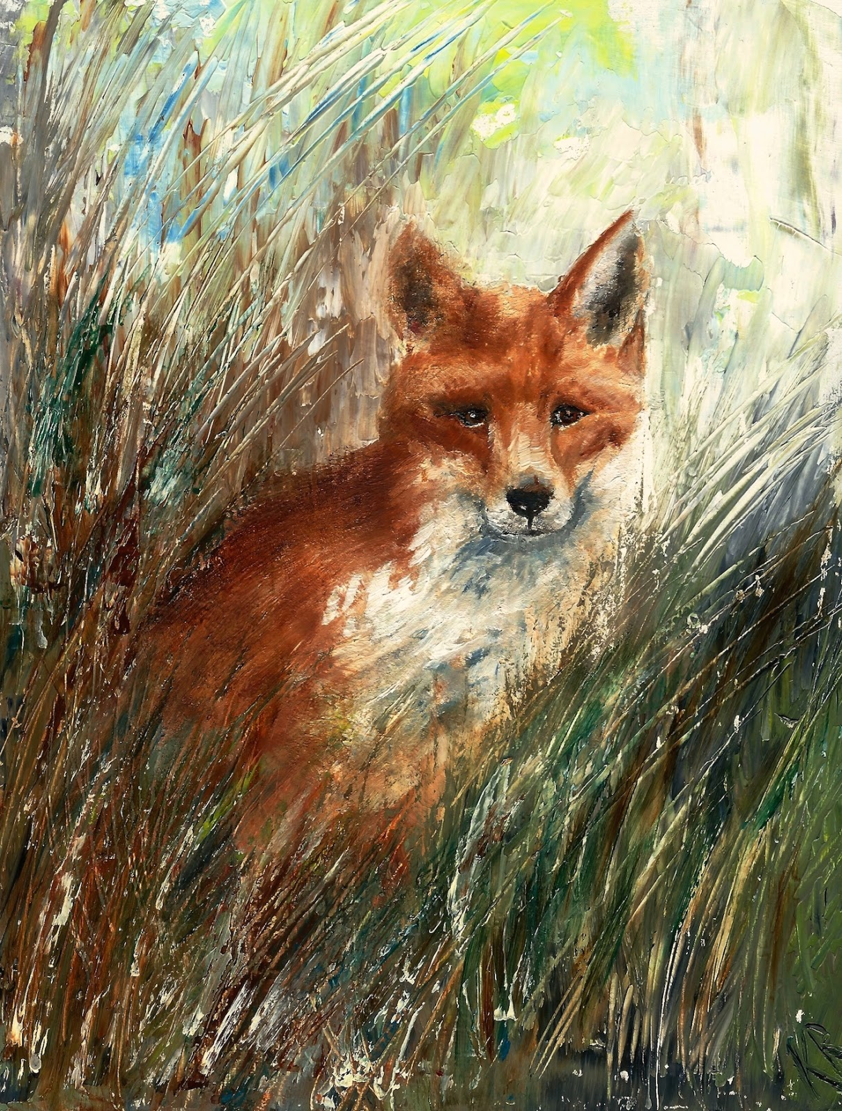 Fox hiding in grass, an oil painting, palette knife painting, a pet portrait by Karen