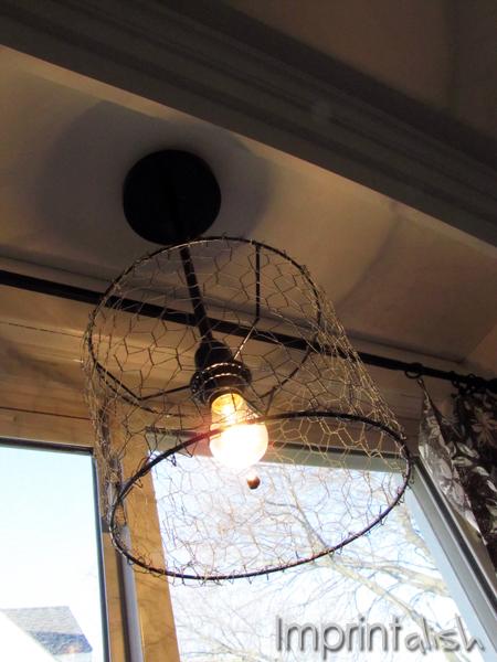 Imprintalish: DIY Chicken Wire Pendant Light