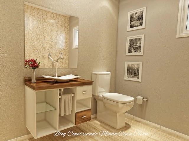 Construindo Minha Casa Clean Banheiros e Lavabos Pequenos!!! Saiba como Deco -> Armario De Banheiro Com Pia Sobreposta