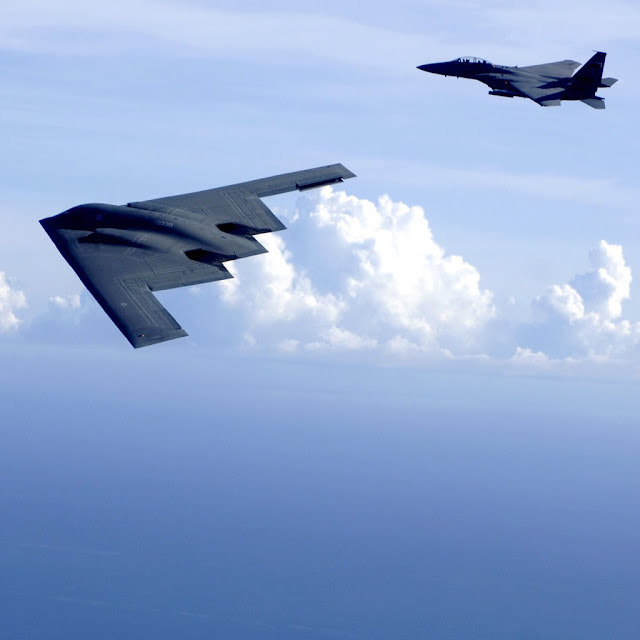 iPad Wallpaper - B2 Spirit and F15 Eagles
